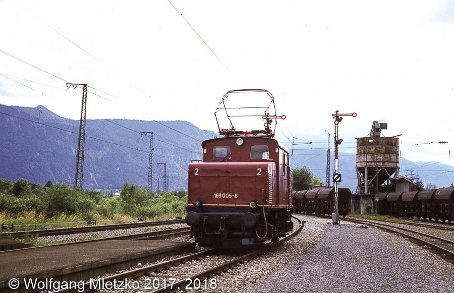 169 005-6 bei Hechendorf ehemalige Schotterverladeanlage am 14.07.1980